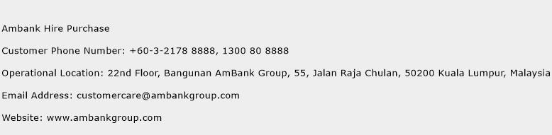Ambank Hire Purchase Number Ambank Hire Purchase Customer Service