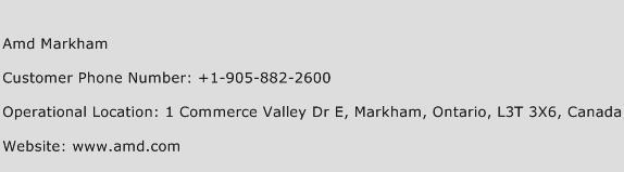Amd Markham Phone Number Customer Service