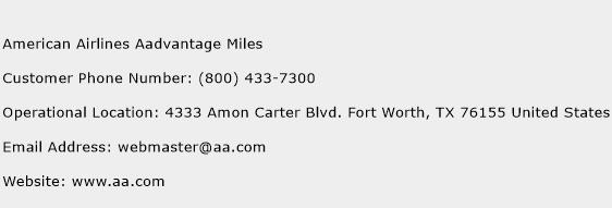 American Airlines Aadvantage Miles Phone Number Customer Service