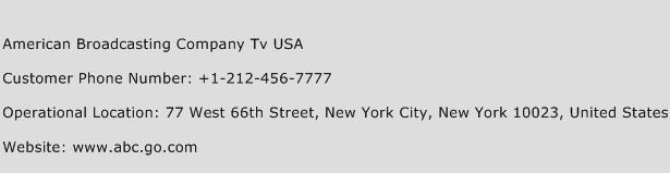American Broadcasting Company Tv USA Phone Number Customer Service