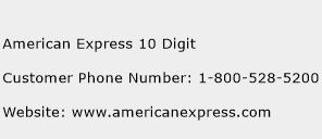 American Express 10 Digit Phone Number Customer Service