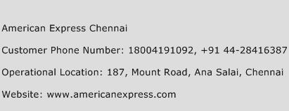 American Express Chennai Phone Number Customer Service