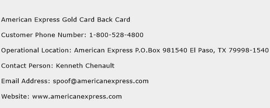 American Express Gold Card Back Card Phone Number Customer Service