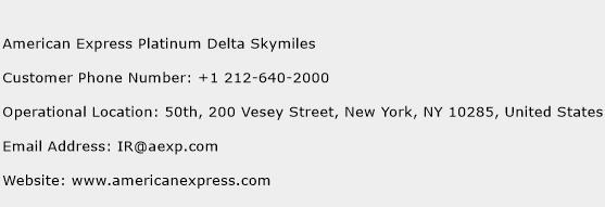 American Express Platinum Delta Skymiles Phone Number Customer Service