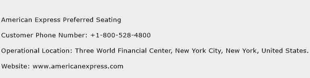 American Express Preferred Seating Phone Number Customer Service