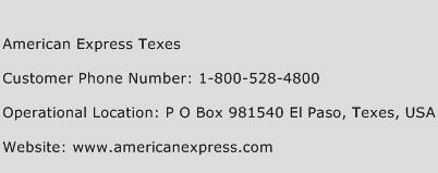 American Express Texes Phone Number Customer Service
