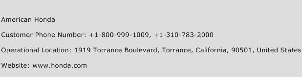 American Honda Phone Number Customer Service