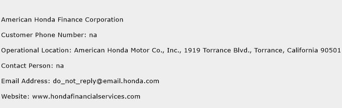 American Honda Finance Corporation Phone Number Customer Service
