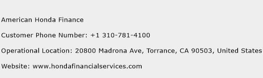 American Honda Finance Phone Number Customer Service