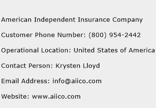 American Independent Insurance Company Phone Number Customer Service
