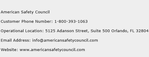 American Safety Council Phone Number Customer Service