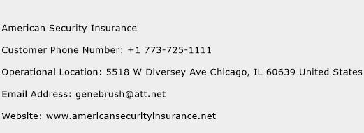 American Security Insurance Phone Number Customer Service