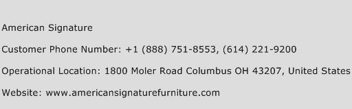 American Signature Phone Number Customer Service