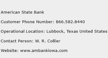 American State Bank Phone Number Customer Service