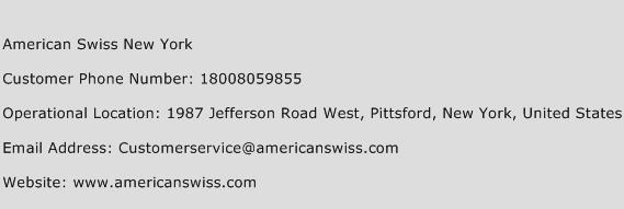 American Swiss New York Phone Number Customer Service