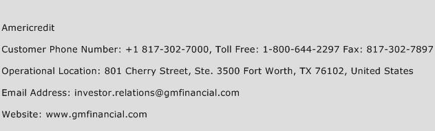 Americredit Phone Number Customer Service