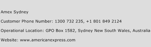 Amex Sydney Phone Number Customer Service