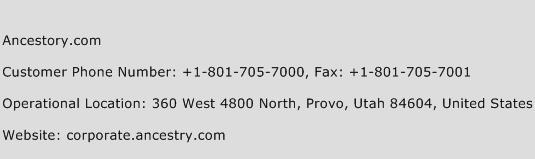 Ancestory.com Phone Number Customer Service