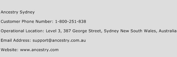 Ancestry Sydney Phone Number Customer Service