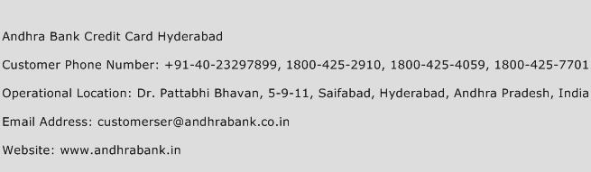 Andhra Bank Credit Card Hyderabad Phone Number Customer Service