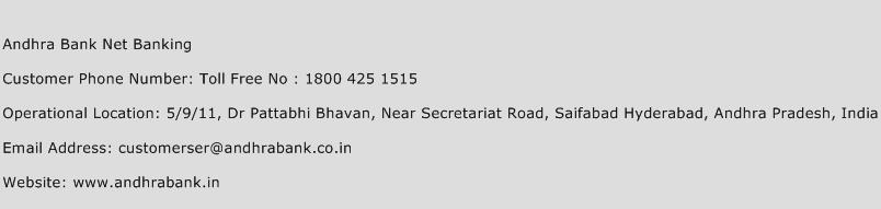 Andhra Bank Net Banking Phone Number Customer Service