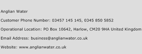 Anglian Water Phone Number Customer Service