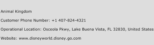 Animal Kingdom Phone Number Customer Service