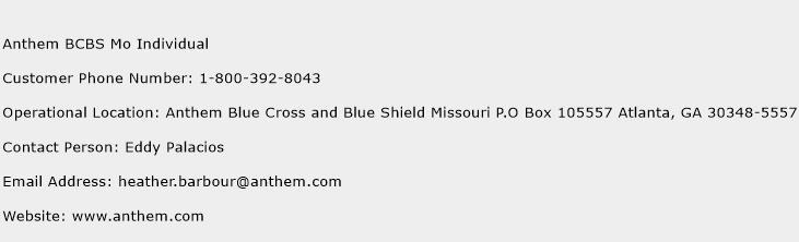 Anthem BCBS Mo Individual Phone Number Customer Service
