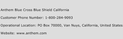Anthem Blue Cross Blue Shield California Number   Anthem ...