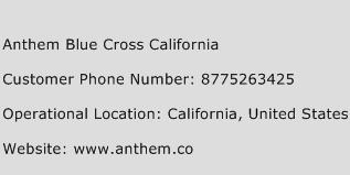 Anthem Blue Cross California Phone Number Customer Service
