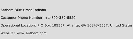 Anthem Blue Cross Indiana Phone Number Customer Service