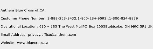 Anthem Blue Cross of CA Phone Number Customer Service