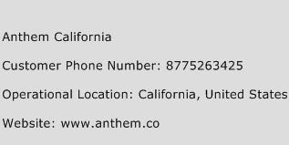 Anthem California Phone Number Customer Service