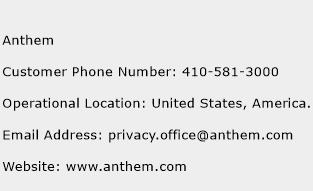 Anthem Phone Number Customer Service