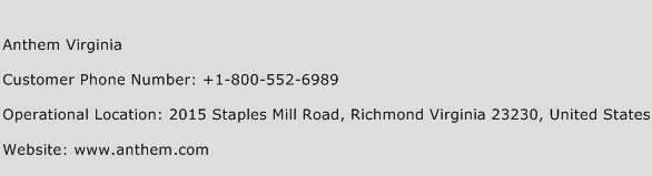 Anthem Virginia Phone Number Customer Service
