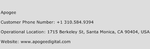 Apogee Phone Number Customer Service