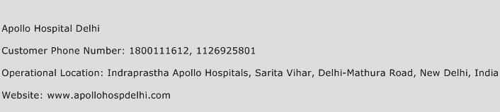 Apollo Hospital Delhi Phone Number Customer Service