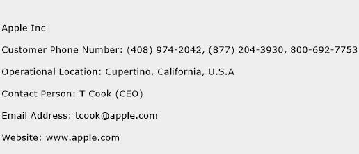 Apple Inc Phone Number Customer Service