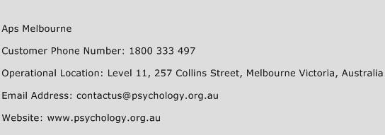 Aps Melbourne Phone Number Customer Service