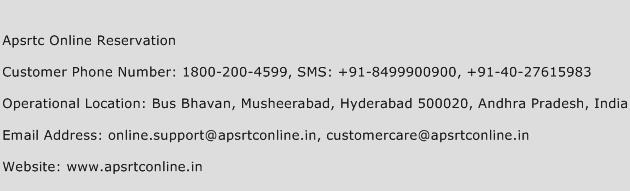 Apsrtc Online Reservation Phone Number Customer Service
