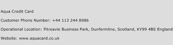 Aqua Credit Card Phone Number Customer Service