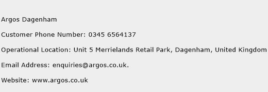 Argos Dagenham Phone Number Customer Service