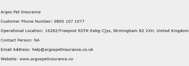 Argos Pet Insurance Phone Number Customer Service
