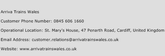 Arriva Trains Wales Phone Number Customer Service