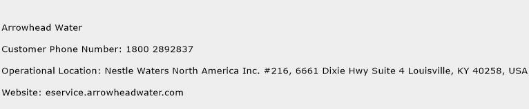 Arrowhead Water Phone Number Customer Service