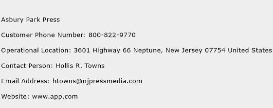 Asbury Park Press Phone Number Customer Service