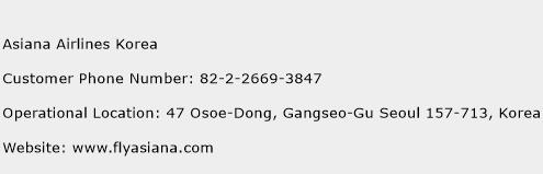 Asiana Airlines Korea Phone Number Customer Service