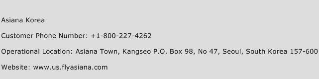 Asiana Korea Phone Number Customer Service
