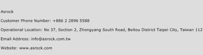 Asrock Phone Number Customer Service