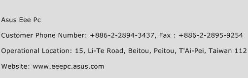 Asus Eee Pc Phone Number Customer Service